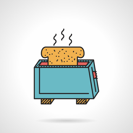bread maker: Flat color design vector icon for blue toaster with hot slice of bread on white background. Illustration