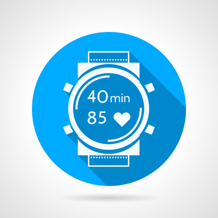 Flat round blue vector icon with white silhouette fitness watch with heart rate control and timer on gray background. Long shadow design Illustration