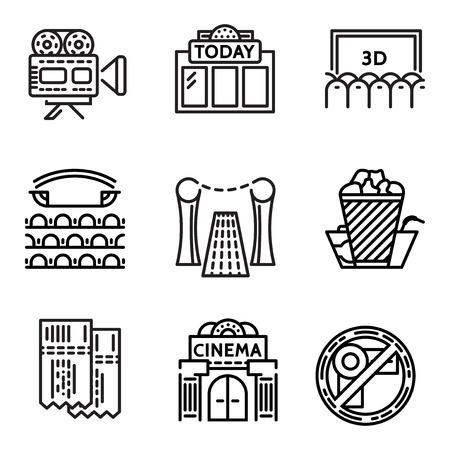 cine: Set of black flat line design vector icons for cinema elements on white background.