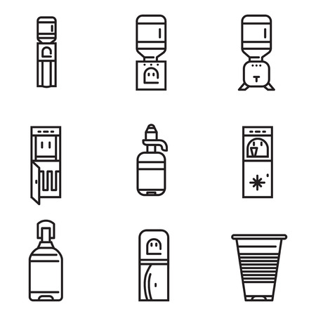 water cooler: Set of black flat line design vector icons for water cooler elements on white background.
