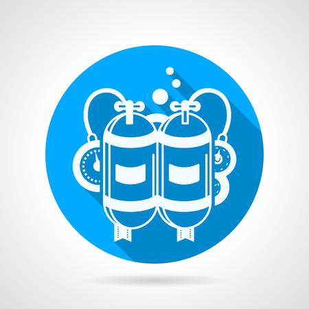 aqualung: Piatto blu icone vettoriali rotondo con bianco autorespiratore profilo con due serbatoi e console su sfondo grigio. Disegno lungo ombra