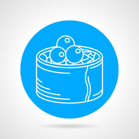 caviar: Blue round vector icon with white line sushi roll with caviar on gray background. Illustration