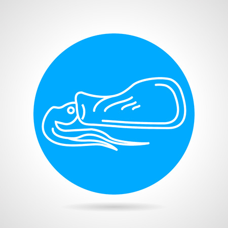 Round blue vector icon with white line squid a side view for seafood menu on gray background.