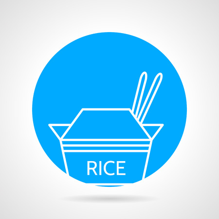 chinese takeout box: Abstract round blue vector icon with white line elements of take-away menu with rice pack on gray background.