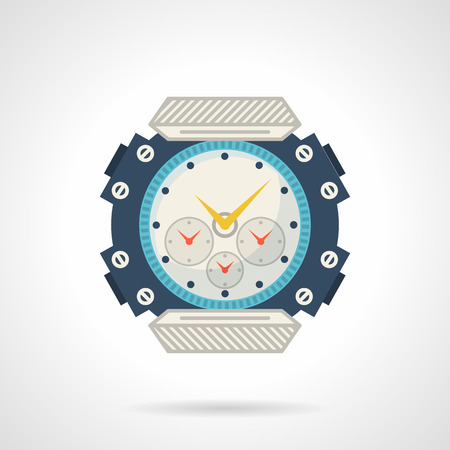 chronograph: Flat style colored vector icon for blue sports watch on white background.
