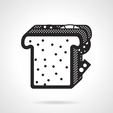 salami: Black contour vector icon for sandwich with toast, cheese and salami slices on white background.