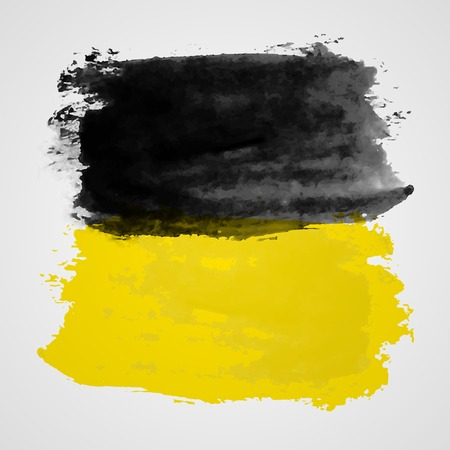 dabs: Watercolor vector illustration or banner with black and yellow brush dabs on gray background