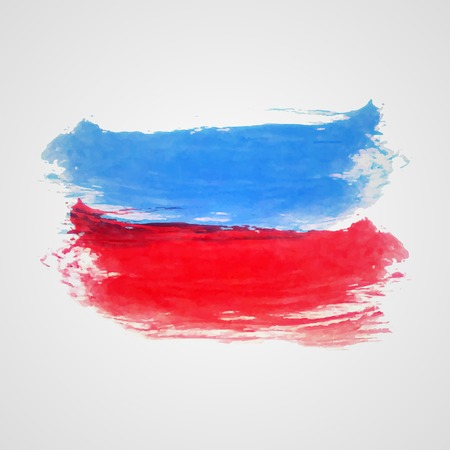dabs: Watercolor vector illustration or banner with red and blue soft brush dabs on gray background