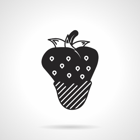 Black silhouette vector icon for strawberry in chocolate glaze on white background. Vector