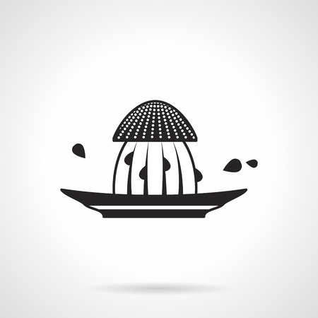 reamer: Black vector icon for plastic squeezer for citrus on white background.