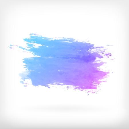 水彩ベクトル イラストや白い背景のグラデーション青と紫の染色とバナー