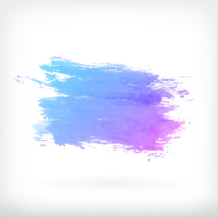 Watercolor vector illustration or banner with gradient blue and purple stain on white background