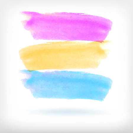 daubs: Watercolor vector illustration or banner with three bright brush daubs on white background