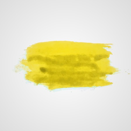 daub: Watercolor vector illustration or banner with dirty yellow brush daub on gray background