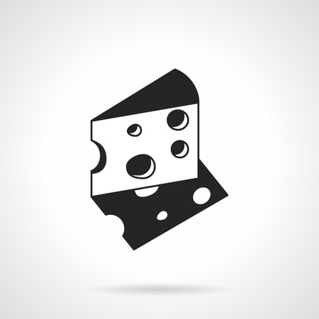 holes: Black contour vector icon for triangle cheese with holes on white background Illustration