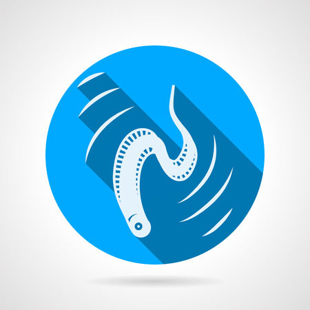 aquaculture: Flat round blue vector icon with white silhouette eel in move on gray background. Long shadow design