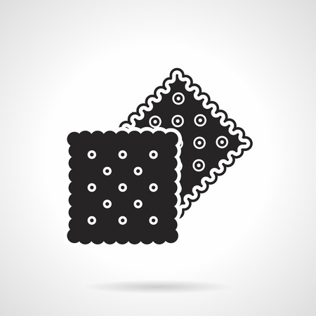Black silhouette vector icon for two square cookies on white background. Çizim