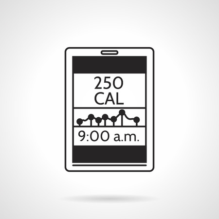 Black silhouette vector icon for calorie counter app with graph and time on white background. Illustration