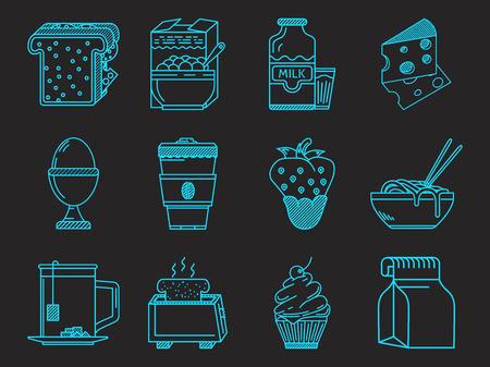 Set of blue line vector icons for elements of breakfast or lunch menu on black background. Vector