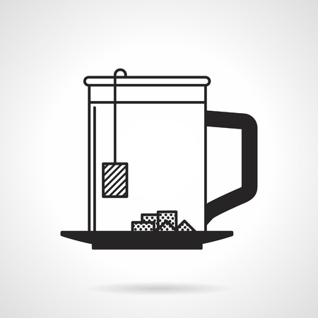 lump: Flat black contour vector icon for tea cup with lump sugar on white background.