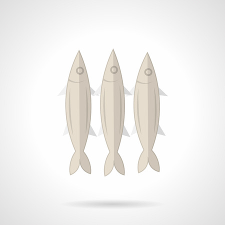 pilchard: Flat color vector icon for three gray sardines for seafood menu on white background.