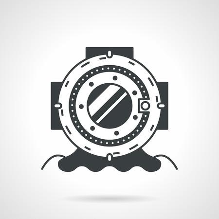 Flat black vector icon for helmet for scuba diving on white background. Vector
