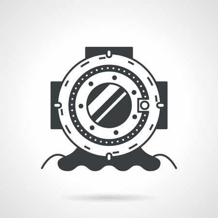deep sea diver: Flat black vector icon for helmet for scuba diving on white background.