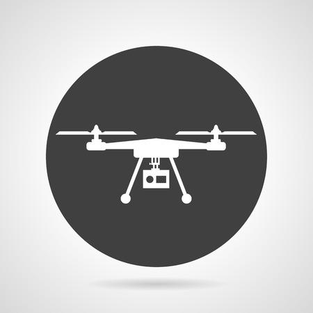 フラット ブラックは、灰色の背景にアクション カメラで白いシルエット quadcopter とベクトル アイコンをラウンドします。