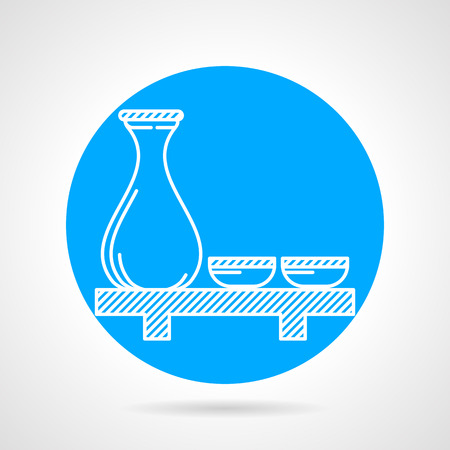 sake: Blue round vector icon with white line sake jug and two cups on table on gray background.