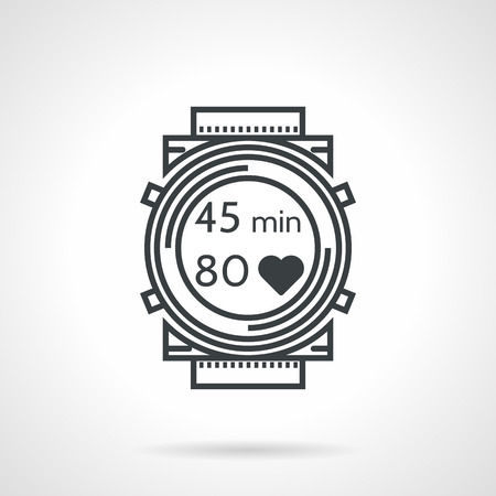 heartbeat line: Flat black line vector icon for sports wrist watch with time and heartbeat count on white background.