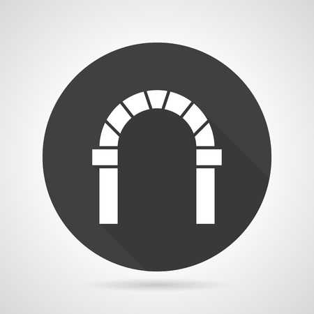 web portal: Flat black round vector icon with white silhouette curved arch with keystone on gray background.