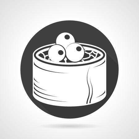 Flat round black vector icon with white silhouette elements of seafood or japanese menu on gray background. Vector