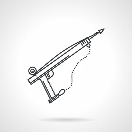 speargun: Flat black line vector icon for equipment for underwater hunting on white background.