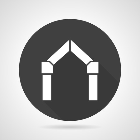 archway: Flat black round vector icon with white silhouette triangle archway on gray background. Illustration