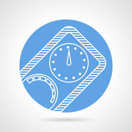 under pressure: Abstract blue round vector icon with white line diving device for pressure control on gray background.