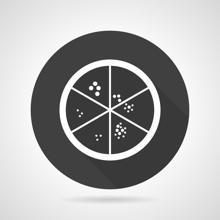 agar: Flat black round vector icon with white contour Petri dish with microorganisms cultures on gray background.