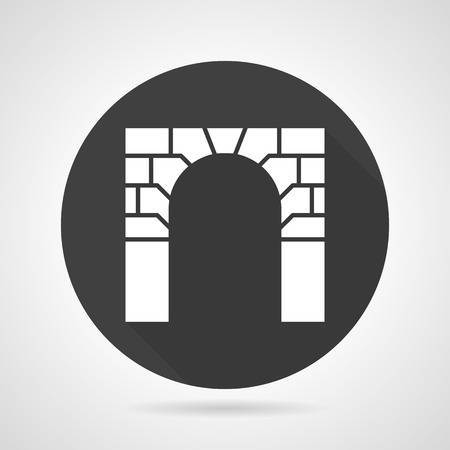 advertising column: Flat black round vector icon with white silhouette brick arch on gray background. Illustration