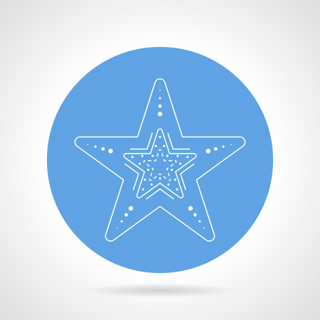 finger fish: Blue round vector icon with white line starfish on gray background.