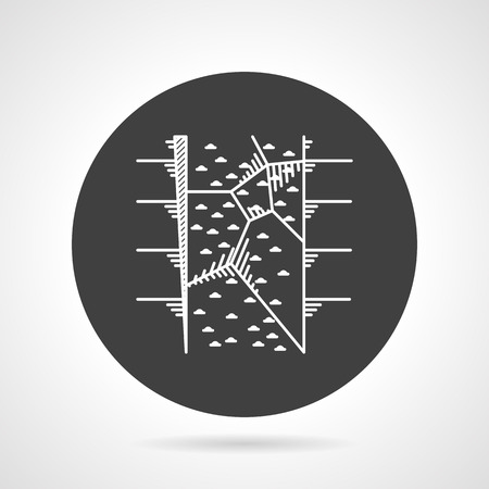 hold high: Flat black round vector icon with white contour climbing wall for training on gray background