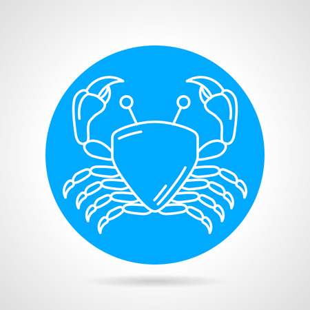 arthropod: Flat blue round vector icon with white line crab on gray background. Seafood menu