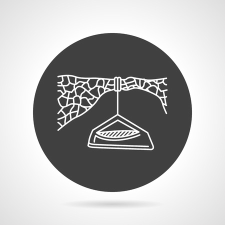 rappelling: Flat black round vector icon with white line hanging tent for extreme sport on gray background