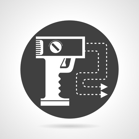 Flat black round vector icon with white silhouette stun gun with two electrodes on gray background.