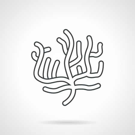 polyp: Flat black line vector icon for sea life element on white background. Illustration