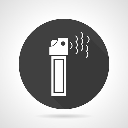 chemical weapon symbol: Flat black round vector icon with white silhouette tear gas or pepper cylinder for self-defense on gray background. Illustration