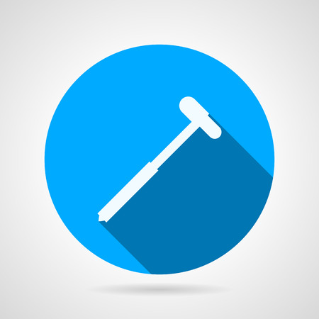 reflex: Flat blue round vector icon with white silhouette neurologist reflex hammer on gray background. Long shadow design
