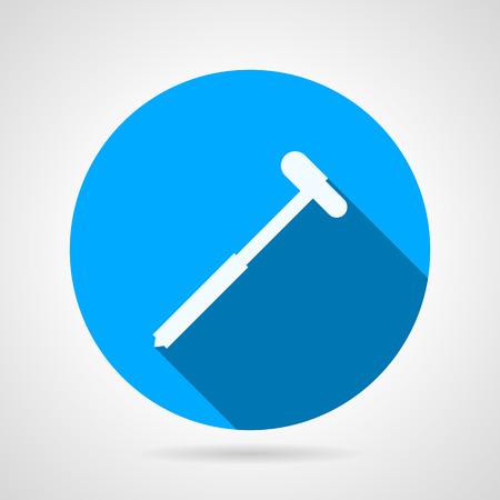 neurologist: Flat blue round vector icon with white silhouette neurologist reflex hammer on gray background. Long shadow design