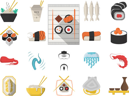 sake maki: Flat color design icons vector collection of traditional japanese seafood menu on white background.