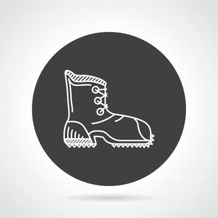 Flat black round vector icon with white line single boot for hike on gray background. Illustration