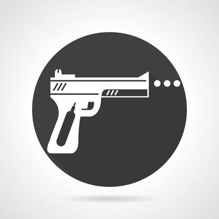 traumatic: Flat black round vector icon with white silhouette traumatic weapon on gray background.