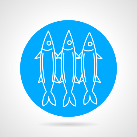 pilchard: Blue round vector icon with white line three sardines on gray background. Seafood menu